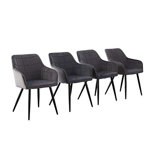 CLIPOP Esszimmerstühle 4er Set, Samt Küchenstuhl Polsterstuhl Retro Design Armlehnstuhl mit Rückenlehne Sessel und Metallbeine (Grau, 4)