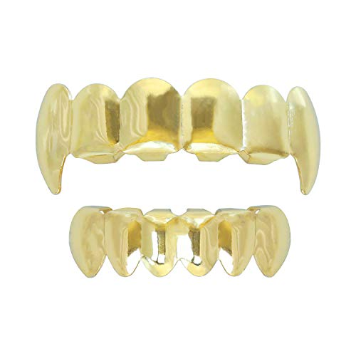 Gold Grillz Teeth Set Best Gift for Son-New Custom Fit 14k Plated Gold Grillz - Excellent Cut for All Types of Teeth – Vampire caps Top and Bottom Grill Set - Hip Hop Bling Grillz