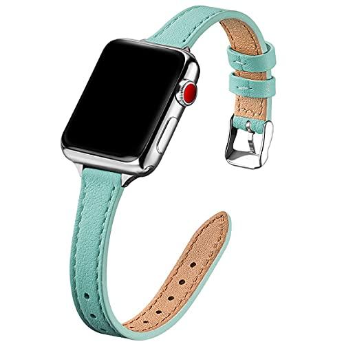 Mantimes Correa de reloj de 38 mm, 40 mm, 42 mm, 44 mm, repuesto de correa de cuero genuino, pulsera delgada y delgada para iwatch Series 6/5/4/3/2/1, SE (42 mm 44 mm, azul Tiffany y plata)