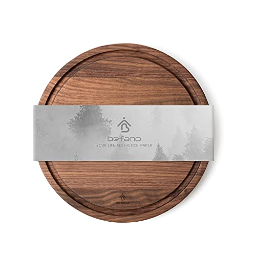 Befano Large Round Black Walnut Cutting Board with Deep Juice Groove for Kitchen, Circular Charcuterie Board, Serving Tray, Cheese Board, Chopping Board for Meat, Vegetables 12.5'x0.8' Inch