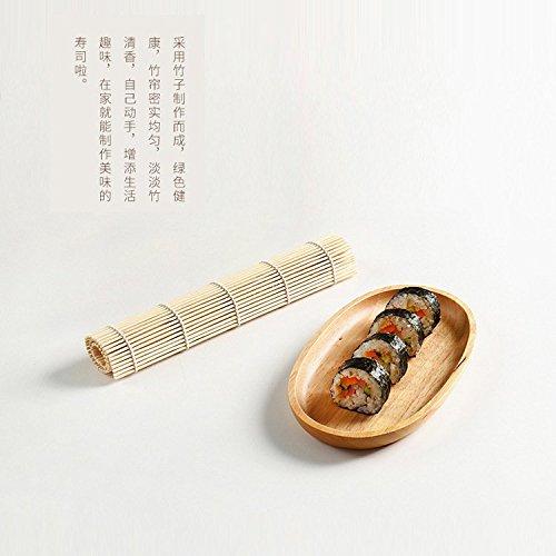 MMXXAIWWAA Bambus weiße Haut Sushi Roll Sushi Vorhang Kohlrabi Reis Sushi Bambus Vorhang Werkzeug Sushi Schimmel 24 * 24 cm