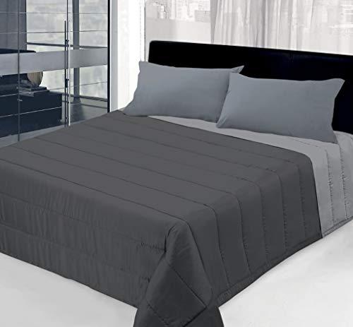 Colcha de 100 g de doble cara lisa para cama individual – 1 plaza y media – matrimonial (gris claro/gris oscuro, individual)