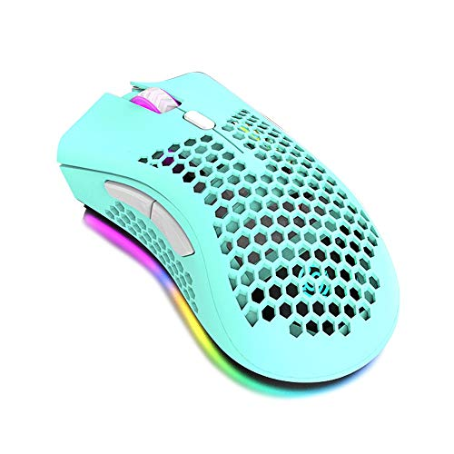 Ratón Inalámbrico 2.4GHz Gaming Wireless Mouse Hollowed out Honeycomb Mouse Ratones para PC (Color : Green)