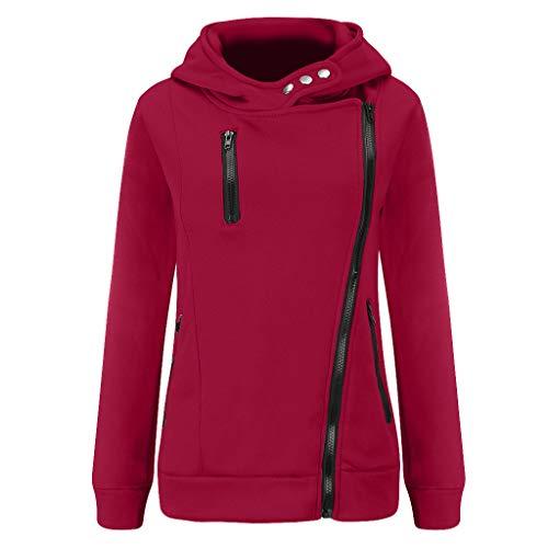 GOKOMO Jacke Damen Sweatjacke Hoodie Sweatshirtjacke Pullover Oberteile Kapuzenpullover Reißverschluss Herbst und Winter Warm(Wein,XX-Large)