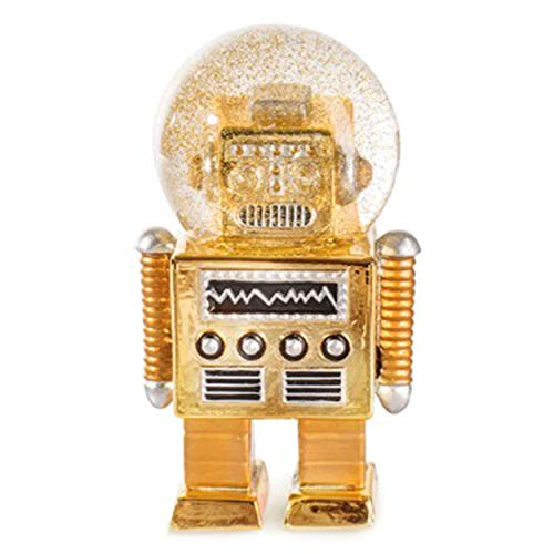 DONKEY Products Summerglobe The Robot, Schneekugel, Glitzerkugel, Dekoration, Glas, Polyresin, Golden, 17 cm, 330442