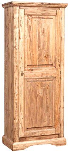 Biscottini Cabinet Rustique en Bois Massif de Tilleul Finition Noyer L72xPR40xH173 cm