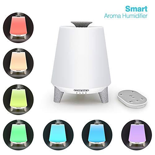 Humidificador audio Bluetooth, máquina aromaterapia 300 ml, esparcidor ultrasónico aceite esencial, enchufe luz nocturna colorida, control remoto inteligente, puede conectar teléfono móvil