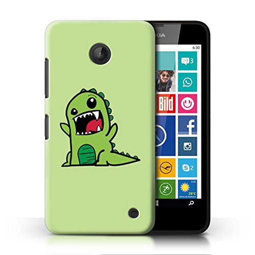 Stuff4® Hülle/Case für Nokia Lumia 630 / Niedliches Grünes T-Rex Muster/Karikatur Dinosaurier Kollektion