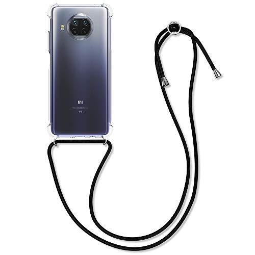 kwmobile Carcasa con Cuerda Compatible con Xiaomi Mi 10T Lite - Funda Transparente de TPU con Cuerda para Colgar en el Cuello