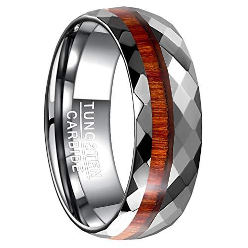 Vakki Ring 8mm Hochglanzpoliert Facettiert Hartmetall-Ehering Hawaiianisches Koa-Holz-Inlay Gewölbt 62(19.7)