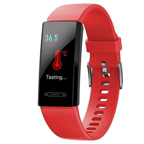 Pulsera inteligente KYHS de frecuencia cardíaca ECG presión arterial oxígeno arterial temperatura corporal reloj de monitoreo de la salud impermeable y pantalla deslizante pulsera deportiva (rojo)