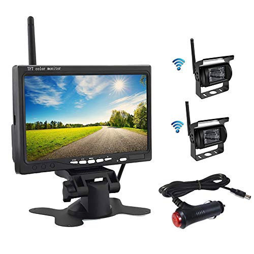 OiLiehu Wireless Backup Camera and Monitor Kit, 7 inch HD TFT LCD Monitor with Antenna, 2 x Wireless Rear View Camera, IP67, Night Version, 12-24 V, Suitable for Buses, SUVs, Trucks, Trailers