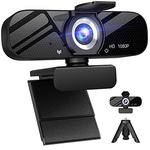 Full HD Webcam with Built-in Microphone and Rotatable Tripod, 1080P Video and Wide Angle Camera, Privacy Cover, for Desktop PC or Laptop Computer, Great for Calls, Video Conferencing, Live Streaming