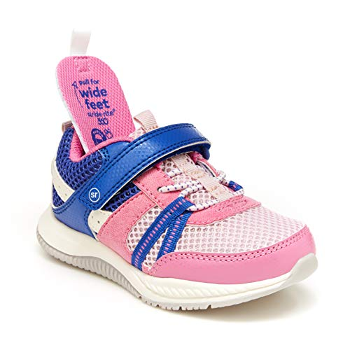 Stride Rite 360 girls Blitz Running Shoe, Pink/Light Blue, 11 Toddler US