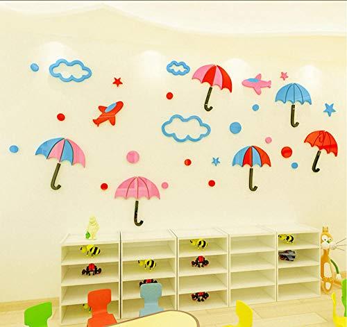 Layyqx 3D-muursticker, acryl, voor kinderkamer, tuin, cartoon, paraplu, wanddecoratie, 110 cm x 52 cm