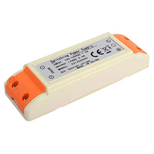 60W LED Driver Adapter, fuente alimentación transformador 12V DC 5A LED, voltaje constante sin interferencia para LED, incluidas luces tira flexibles LED bombillas LED G4, MR11, MR16, GU5.3