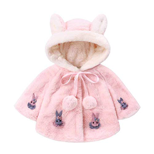 CHIYEEE Girls Cape Coat Hooded Thick Fleece Jacket mit Zwei Süßen Ohren Hellrosa