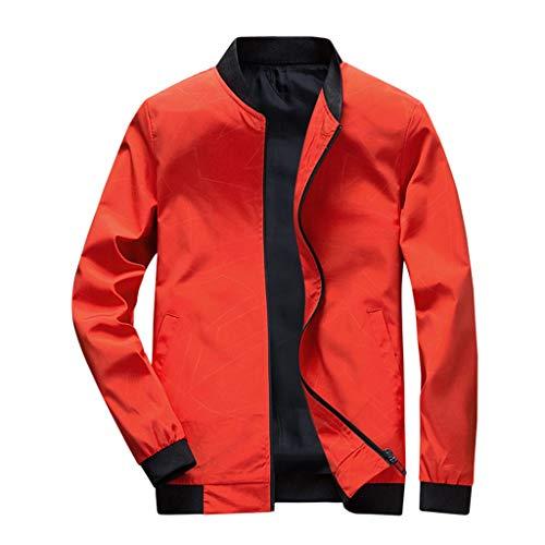 MAYOGO Herren Jacke Trainingsjacke Baseball Jacke Zip College Jacke Männer Sweatjacke Übergangsjacke Softshelljacke Windjacke Windbreaker Streetwear (Orange, XXXL)