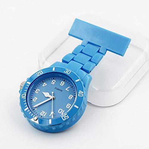 B/H Taschenuhr Analog Quarzuhr,Kunststoff Krankenschwester Uhr, Legierung medizinische Taschenuhr Taschenuhr-Himmelblau,Taschenuhr/Krankenschwesteruhr