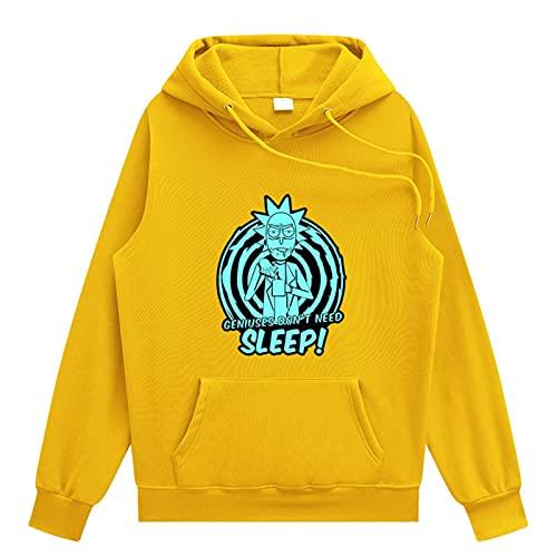 Impresión 3D Rick y Morty Hoodie Moda casual de moda Hip Hop Sudadera con capucha Tops El mejor regalo para Boy Girl,Amarillo,XL