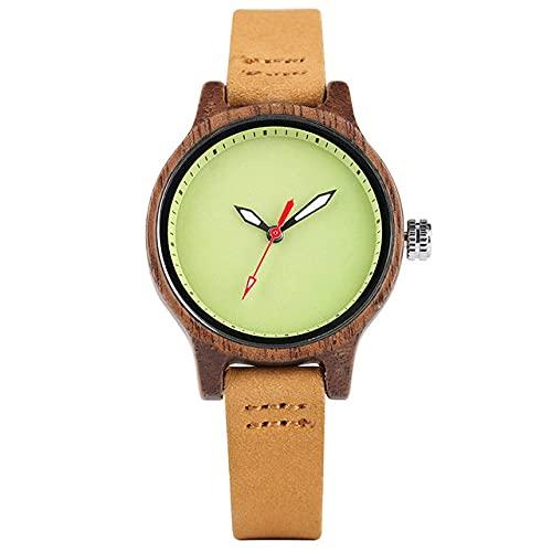 RWJFH Reloj de Madera Relojes de Madera de Moda para Mujer, Segundos Rojos, Esfera Redonda Minimalista, Reloj de Pulsera de Cuero de Cuarzo para Mujer, Reloj de Madera de 4 Colores, Madera de ébano