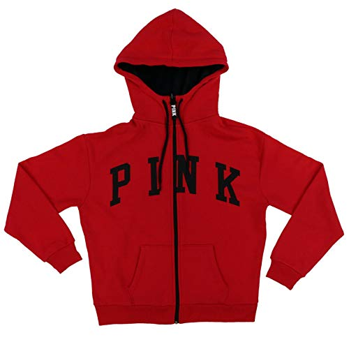 Victoria's Secret Pink Hoodie Full Zip with Sherpa Lined Hood (XS, Red)