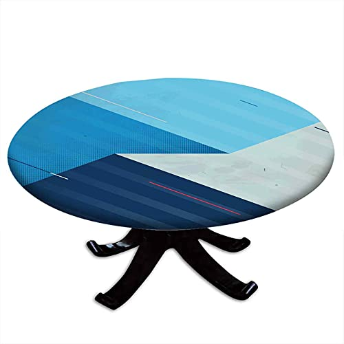 Abstract Round Fitted Tablecloth, Various Geometrical Shapes and Lines Expressed in Abstract Manner, Elastic Edge, Waterproof and wipeable, Fits Tables 48' - 52' Diameter Blue Turquoise Dark Blue