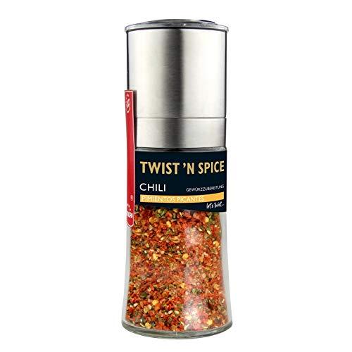 Twist´n Spice Chilimühle Pimientos Picantes - 65 g in der Gewürzmühle von Hartkorn (Edelstahl, Glas und ein hochwertiges Keramikmahlwerk)