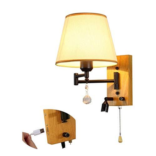 CLOVEML Lámpara de Pared de Madera rústica con lámpara de Lectura LED de 1W, lámpara de Noche de Dormitorio con Brazo Giratorio Ajustable con Interruptor de Tiro, conexión USB, Pantalla de Tela, E27