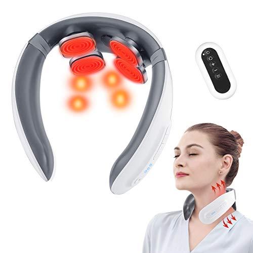 Nackenmassagegerät, Elektrische Nackenmassagegerät mit Wärme 6 Modi und 18 Stufen zur Schmerzlinderung, Shiatsu Massagegerät mit Spracherinnerung und Fernbedienung (4D)