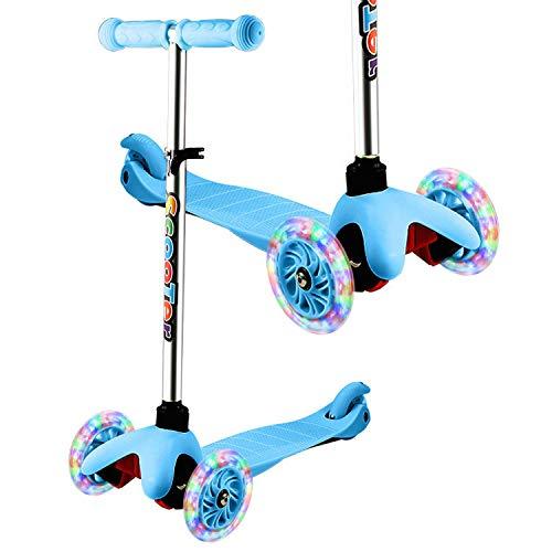 WeSkate - Patinete Infantil de 3 Ruedas para Principiantes, niños de 3 a 8 años, Mini Patinete con Ruedas Luminosas y Manillar Ajustable sobre 4 Niveles, Ligero y fácil de Transportar,Azul