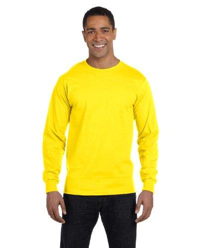 Hanes Camiseta de manga comprida sem etiqueta, Amarelo, 3XL