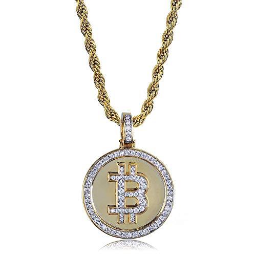 JINSHIYINYU Halskette mit Anhänger, Hip-Hop-Zirkonia, 14 Karat vergoldet, Bitcoin-Symbol, 59,9 cm Kordelkette