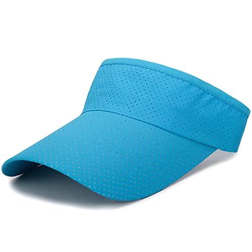 XMYNB Viseras de sol Verano Transpirable Aire Sol Sombreros Hombres Mujeres De Las Mujeres Ajustable Visera Protección Uv Superior Vacío Sólido Deporte Tenis Golf Corriendo Protector Solar Tapa-Light Blue Sun Hat,Adjustable