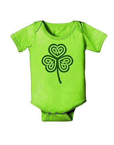 TOOLOUD Celtic Knot Irish Shamrock Baby Romper Bodysuit - Lime Green - 12 Mos
