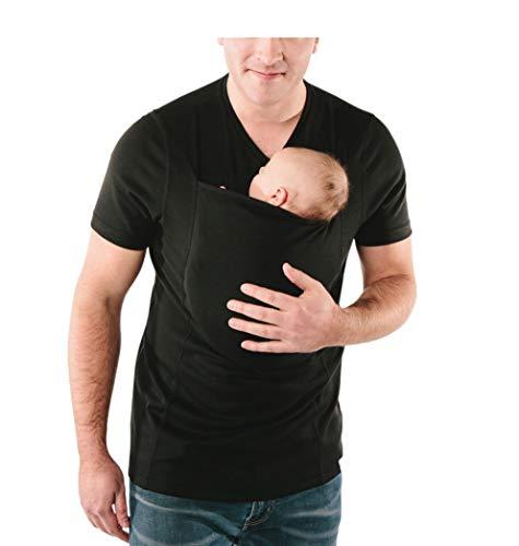 Jolie Känguru-Vater Multifunktional Hemd Beruhigend und Stillen Tragetuch Oben, Hände frei Känguru-Pflege-Shirts,Schwarz,M