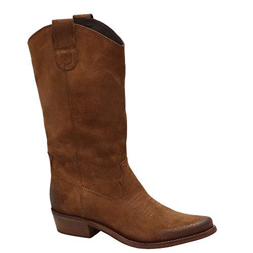 Felmini - Scarpe Donna - Innamorarsi Com Gerbera 7962 - Stivali Cowboy & Biker - in Pelle Genuina - Marrone - 38 EU Size
