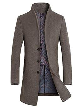 Mordenmiss Men s Winter Woolen Long Trench Coat Business Outfit Down Jacket Fleece Khaki S