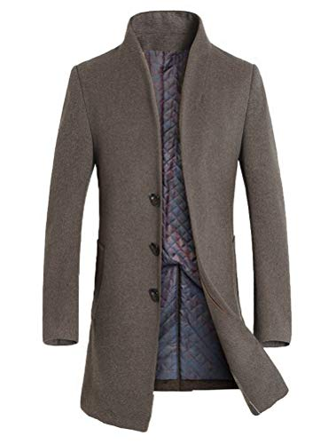 Mordenmiss Men's Winter Woolen Long Trench Coat Business Outfit Down Jacket Fleece Khaki L
