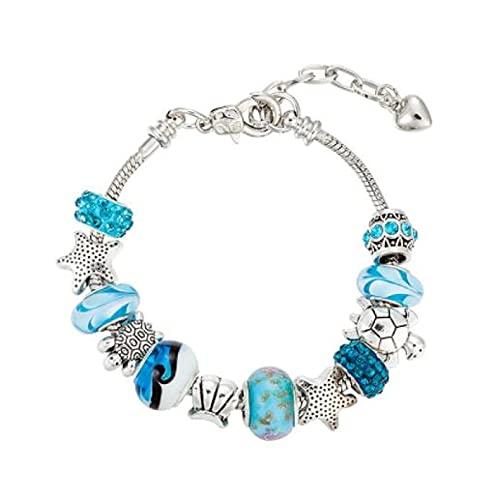 MENGHUA Blue Glass Bead Ocean Series Pulsera Estrella de Mar Tortuga Abalorios Pulsera Ajustable 18+5 Hembra