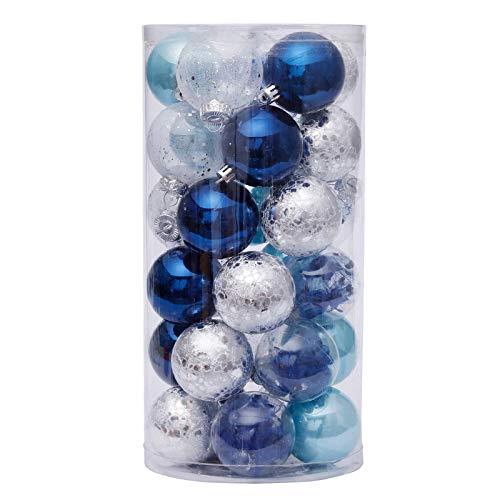 WasonD Juego de 30 adornos de bola de Navidad transparentes de 6 cm, diseño de flores, plumas mezcladas, inastillables, decoración para árbol de Navidad, bolas de Navidad, color azul y plateado