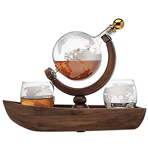 Godinger Whiskey Dekanter Ship Globe Set mit 2 World Whisky Gläsern – für Likör, Scotch, Bourbon, Wodka – 850 ml