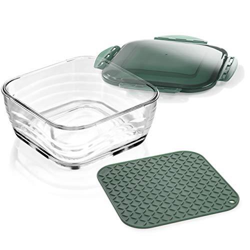 Genius Nicer Dicer Chef Glasschüssel groß mit Deckel & Silikonmatte Kombi-Set - ofenfeste Glasbehälter Auflaufform Ofenform backofenfest und gefriergeeignet