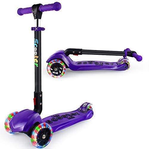 BELEEV Roller Kinder für Kinder 3 Räder Roller für Kleinkinder, Mädchen & Jungen, 4 Höhenverstellbar mit PU LED Leuchträdern, Faltbar Kick Scooter ab 3-12 Jahre (Violett)