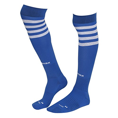 KD Willmax Sports Socks Football Stocking Dry Fast Trainer (Blue, Medium) Unisex Knee High Striped Sports Football/Soccer/Hockey Rugby Tube Socks for Men, Women, Boys & Girls