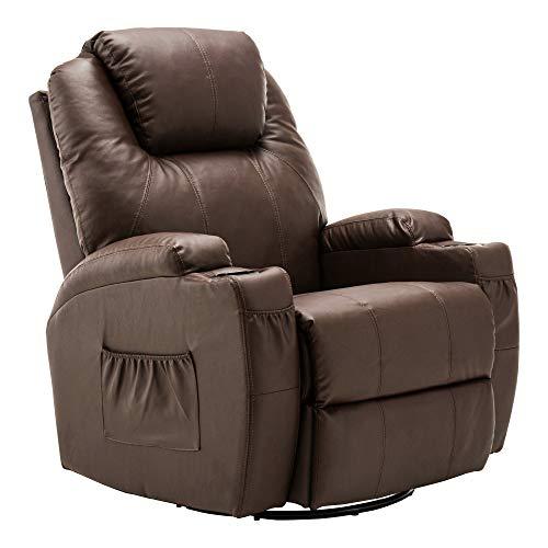 MCombo Massagesessel Fernsehsessel Relaxsessel Braun mit Heizung Dreh 360° Schaukel Braun