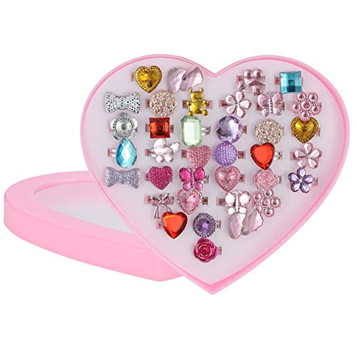 FRIUSATE Adjustable Rings Set for Little Girls, 36pcs Girls Crystal Jewelry Rings Princess Jewelry Finger Rings with Heart Shape Box, Dress up Rings for Kids Children Birthday Party Supplies