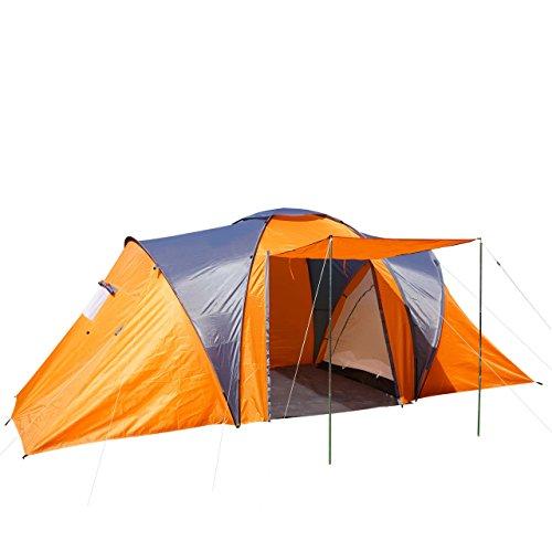 Campingzelt Loksa, 4-Mann Zelt Kuppelzelt Igluzelt Festival-Zelt, 4 Personen - orange
