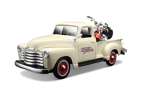 Maisto-1/24 Chevrolet 3100 Pick-up 1950 + Moto-crème, 32194