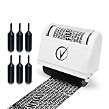 Identity Protection Roller Stamps Wide Kit, Including 6-Pack Refills - Designed for Secure Confidential ID Blackout Security, Anti Theft and Privacy Safety - Classy White by Vantamo